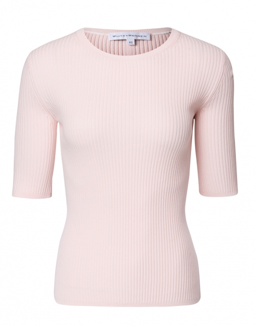 White + Warren - Soft Pink Ribbed Cotton Top