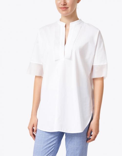 Piazza Sempione - White Stretch Cotton Poplin Tunic Shirt