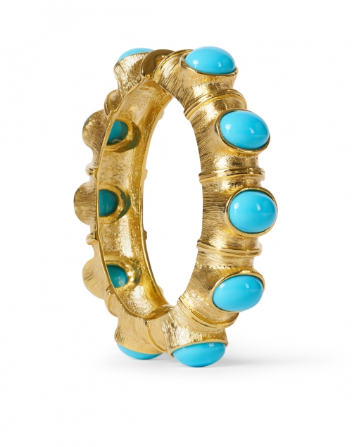 Kenneth Jay Lane - Turquoise Cabochon and Gold Hinged Bracelet