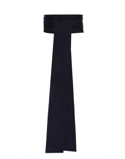 Sara Roka - Navy Wide Satin Ribbed Belt