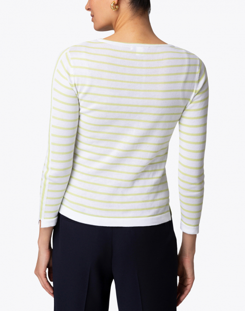 Blue - White and Wasabi Fine Stripe Boatneck Sweater