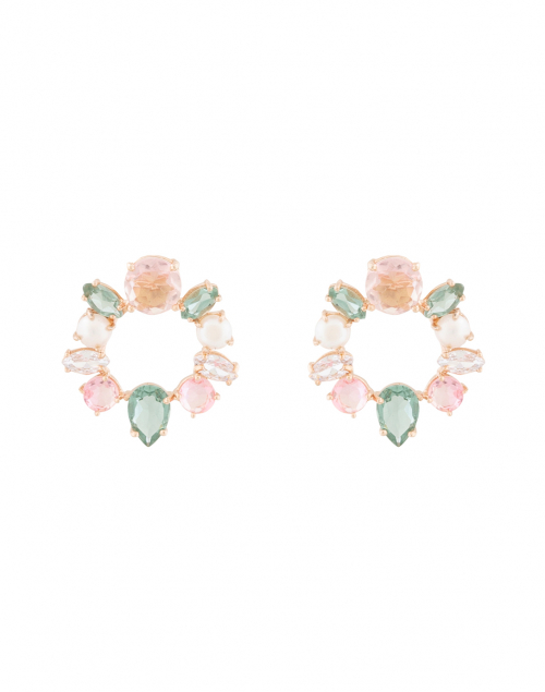 Atelier Mon Pink and Pearl Mini Circle Hoop Earring