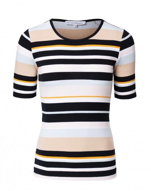 White + Warren - Black and Yellow Baja Stripe Cotton Sweater