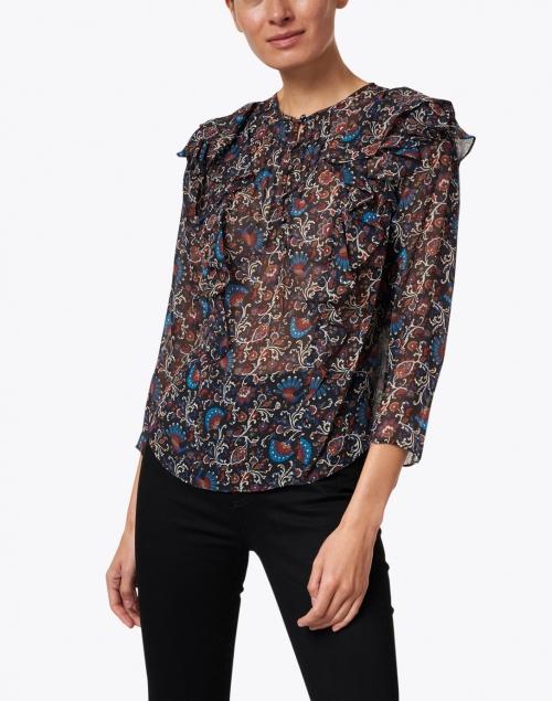 Veronica Beard - Aneri Black Multi Floral Print Silk Blouse