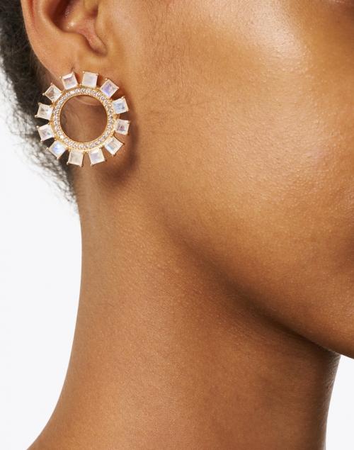 Atelier Mon - Moonstone and Zirconia Gold Circle Hoop Earring