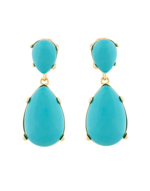 Kenneth Jay Lane Turquoise Resin Cabochon Drop Clip Earrings