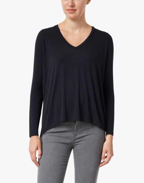 Majestic Filatures - Navy Soft Touch Pleated Top