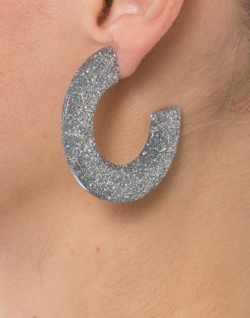 Pono by Joan Goodman - Gia Silver Glitter Resin Hoop Earrings
