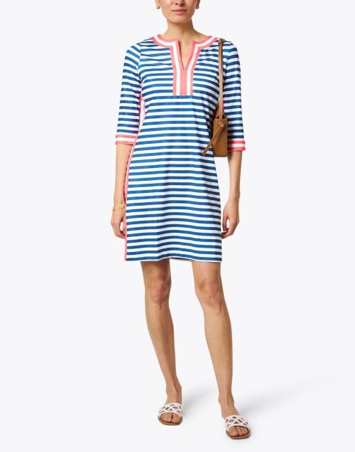 Gretchen Scott - Navy, White and Coral Striped Jersey Dress