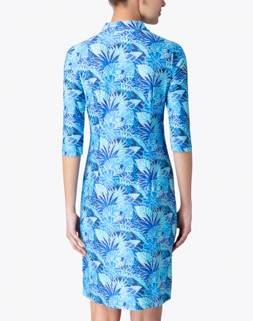 Leggiadro - Blue Palm Printed Jersey Shirt Dress