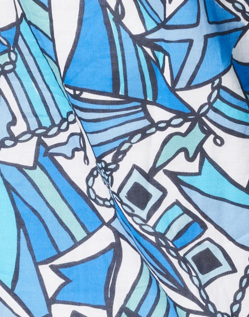 Sail to Sable - Blue Flag Print Cotton Voile Tunic Dress