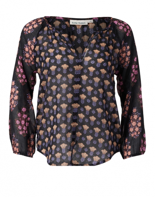 Roller Rabbit - Lucy Black and Pink Madigan Floral Cotton Top