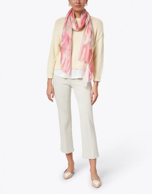 Kinross - Pink Ibiza Ikat Print Silk Cashmere and Scarf