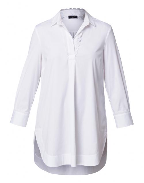 Piazza Sempione - White Henley Stretch Cotton Top