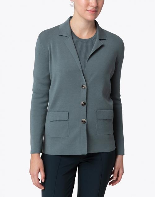 Amina Rubinacci - Dalmata Teal Wool Knit Jacket