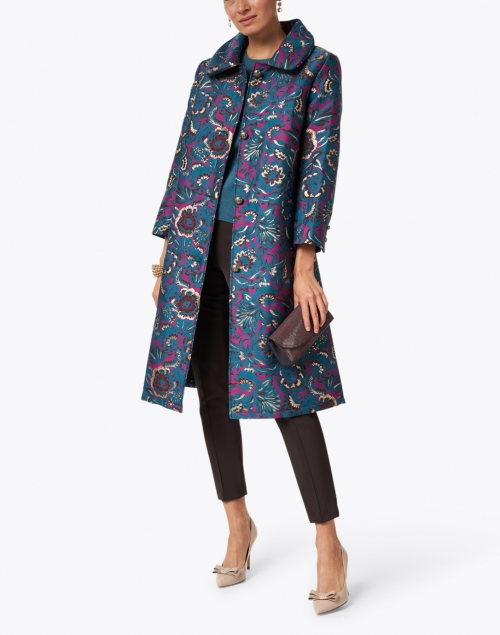 Samantha Sung - Hana Jade and Plum Floral Brocade Coat