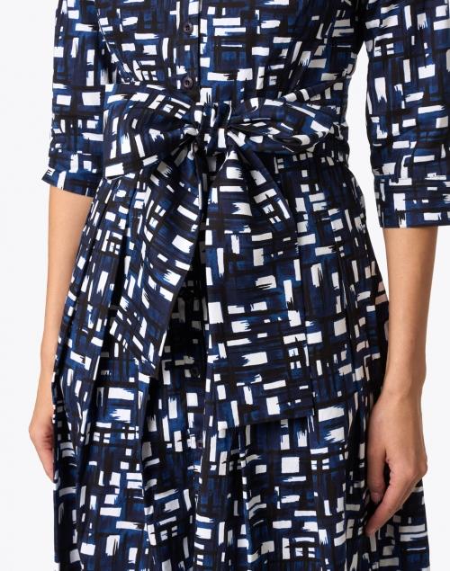 Samantha Sung - Audrey Indigo Abstract Print Stretch Cotton Dress