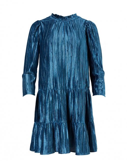 Shoshanna Westbrook Teal Pleated Velvet Dress