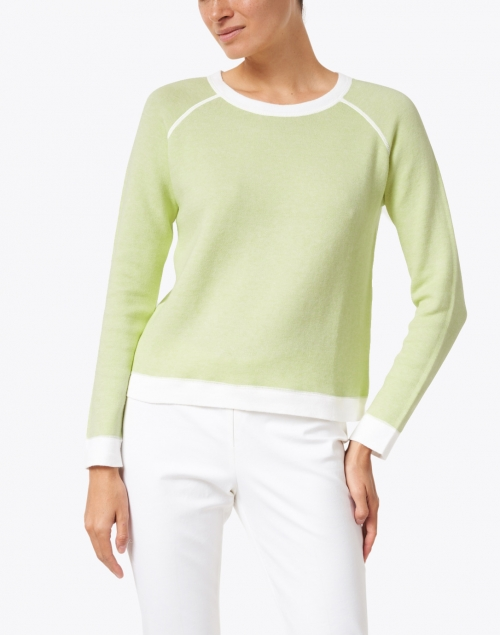 Kinross - Melon Green Cotton Cashmere Sweater