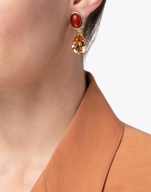 Oscar de la Renta - Gold Crystal and Jasper Stone Drop Earrings