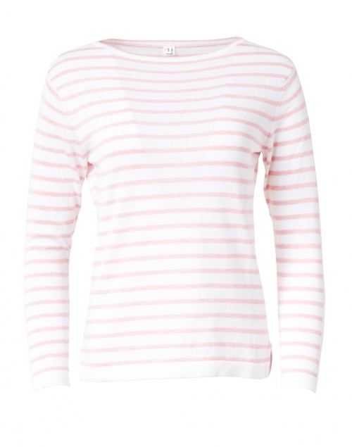 Blue - White and Oleander Pink Fine Stripe Boatneck Sweater