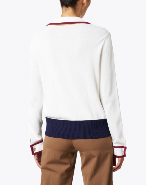 Edward Achour - White, Navy and Red Polo Sweater