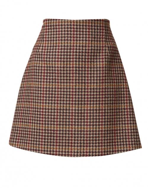 Weekend Max Mara Brama Bordeaux Houndstooth Wool Blend Skirt