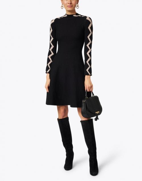 Emporio Armani - Black Jacquard Zig Zag Knit Dress