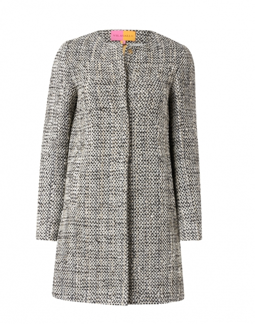 Vilagallo - Sofia Black and White Lurex Tweed Long Jacket