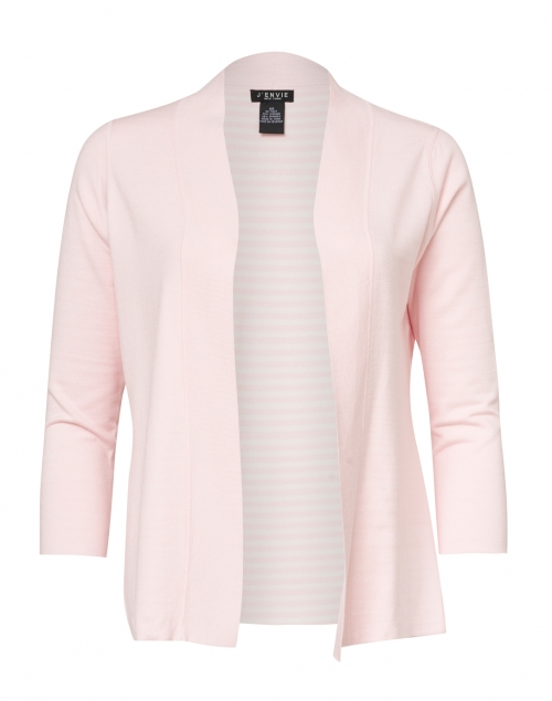 J'Envie - Light Pink and White Reversible Viscose Knit Cardigan