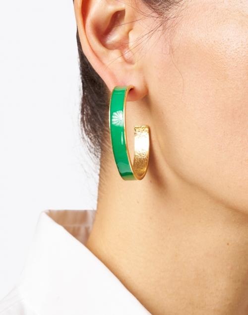 Oscar de la Renta - Kelly Green Enamel Hoop Earring