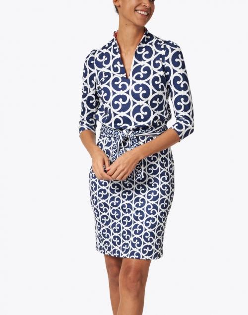 Gretchen Scott - Navy and White Printed Jersey Dress