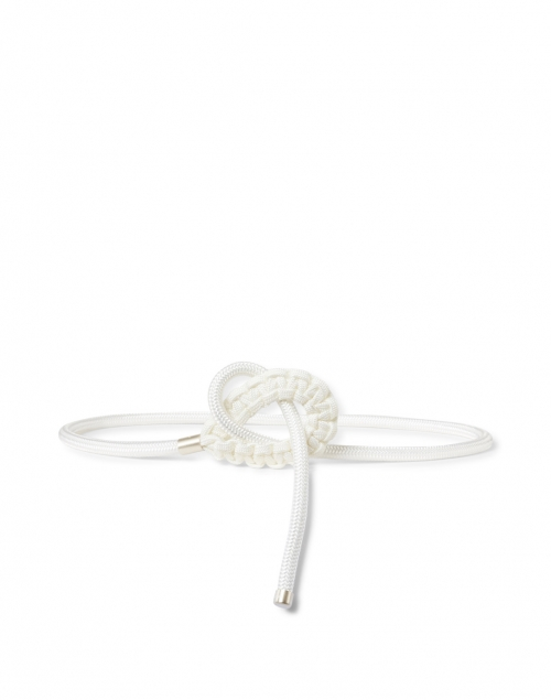 120% Lino - White Leather Rope Belt
