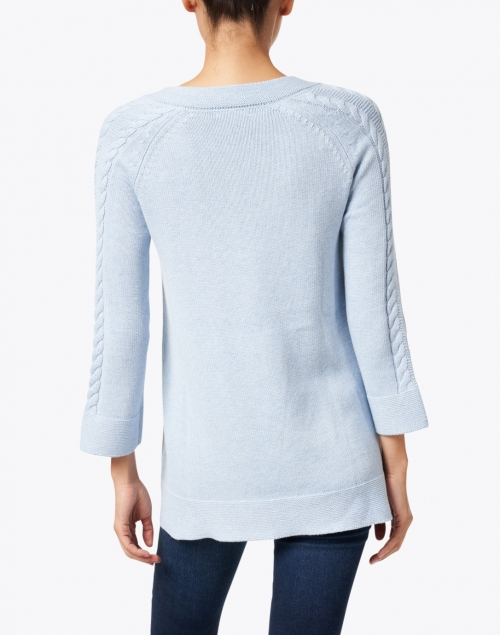 Kinross - Light Blue Cotton Cable Knit Sweater