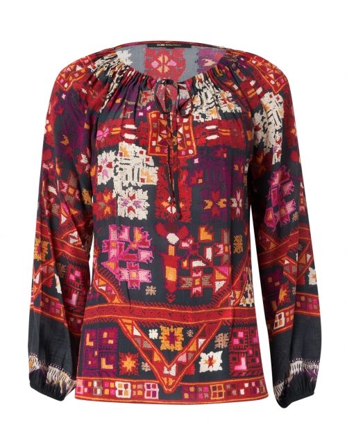 Kobi Halperin - Romina Black, Red and Orange Printed Silk Blouse