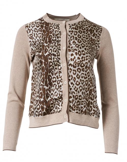 Rani Arabella - Beige Leopard Cashmere and Silk Cardigan