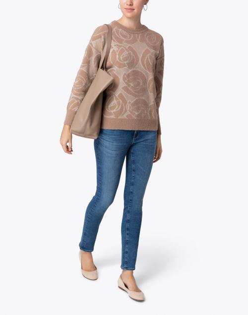 Peserico - Beige Lurex Floral Print Sweater