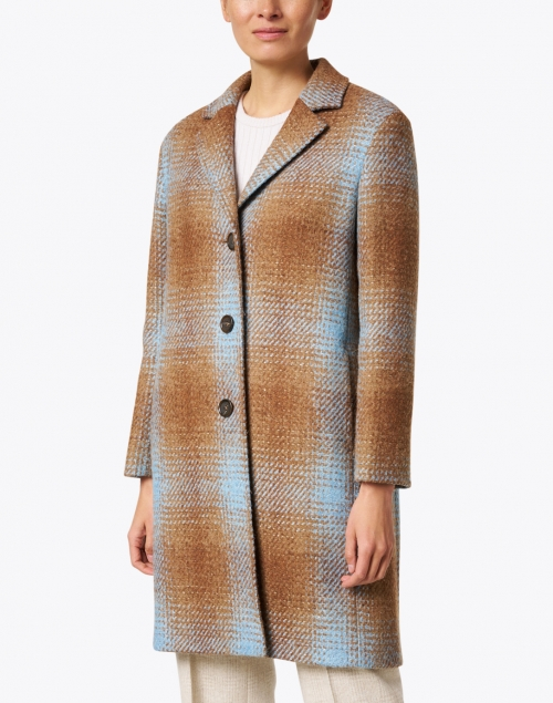 Cinzia Rocca Icons - Camel and Blue Plaid Wool Blend Sequin Inlay Coat