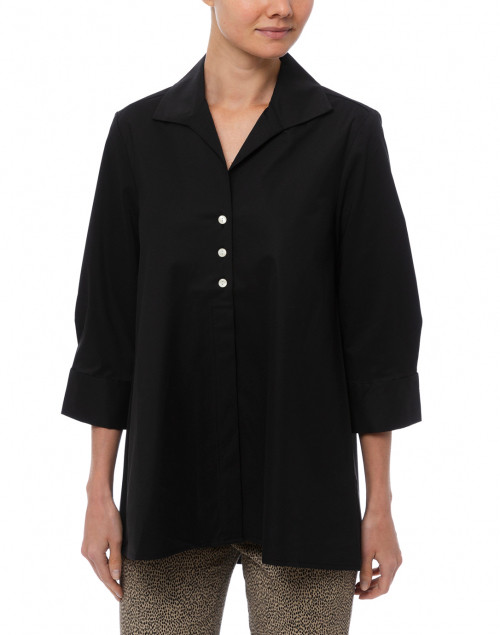 Hinson Wu - Betty Black Button Down Stretch Cotton Shirt