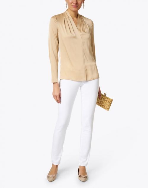 Kobi Halperin - Nellie Flax Gold Stretch Silk Georgette Blouse