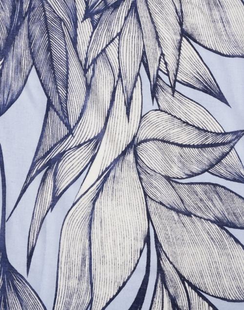 Kinross - Iris Blue Botanical Leaf Print Silk Cashmere Scarf