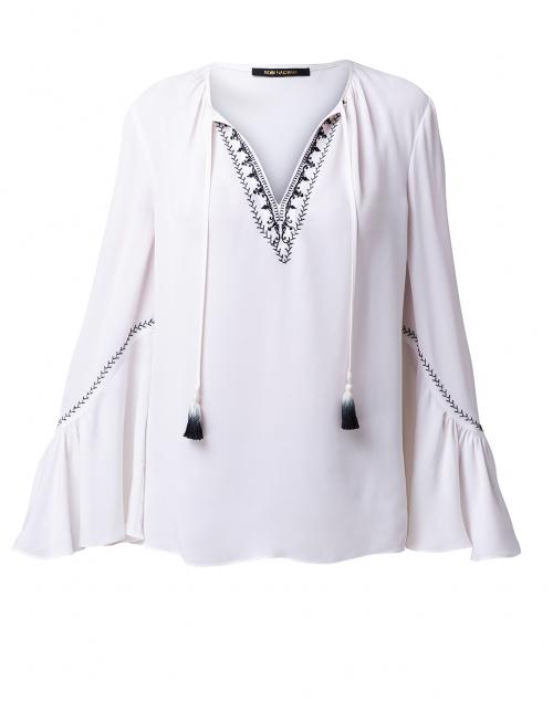 Kobi Halperin - Solana White Silk Embroidered Blouse