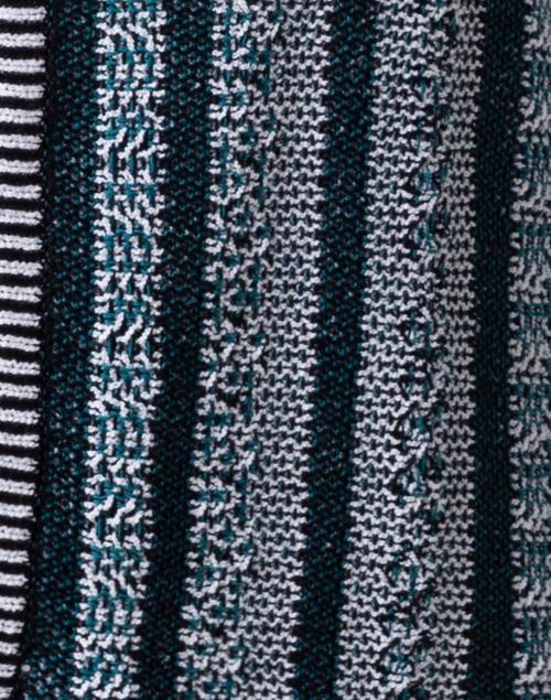 Amina Rubinacci - Cipresso Teal Striped Cotton Cardigan
