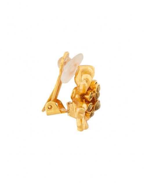Oscar de la Renta - Gold Classic Crystal Flower Button Earrings
