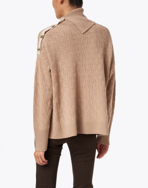 Cortland Park - Birch Camel and Beige Cashmere Cable Sweater