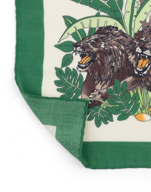 Rani Arabella - Green and White Safari Printed Silk Cashmere Scarf