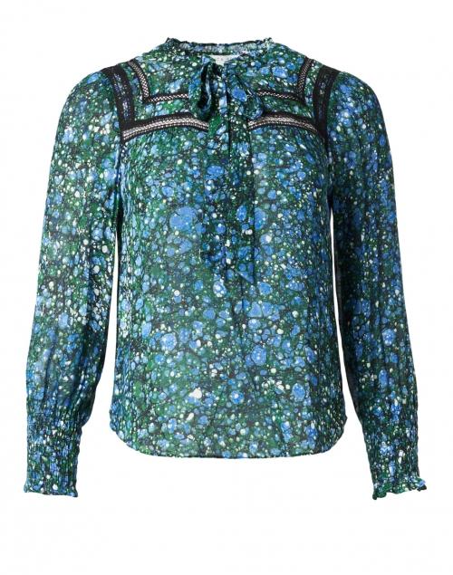 Veronica Beard - Candita Blue and Green Marble Print Top