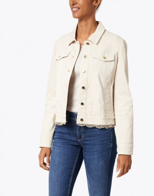 Marc Cain - Ecru Lace Trimmed Denim Jacket