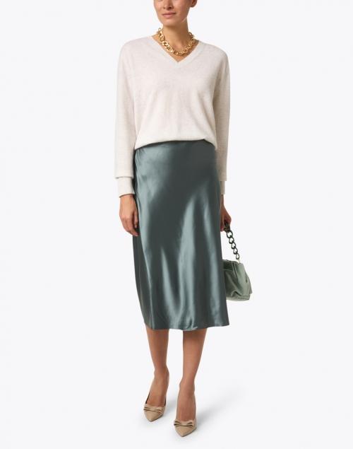 Joseph Isaak Deep Green Silk Satin Skirt