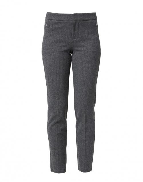 Ecru - Lombard Grey Herringbone Slim Leg Stretch Trouser